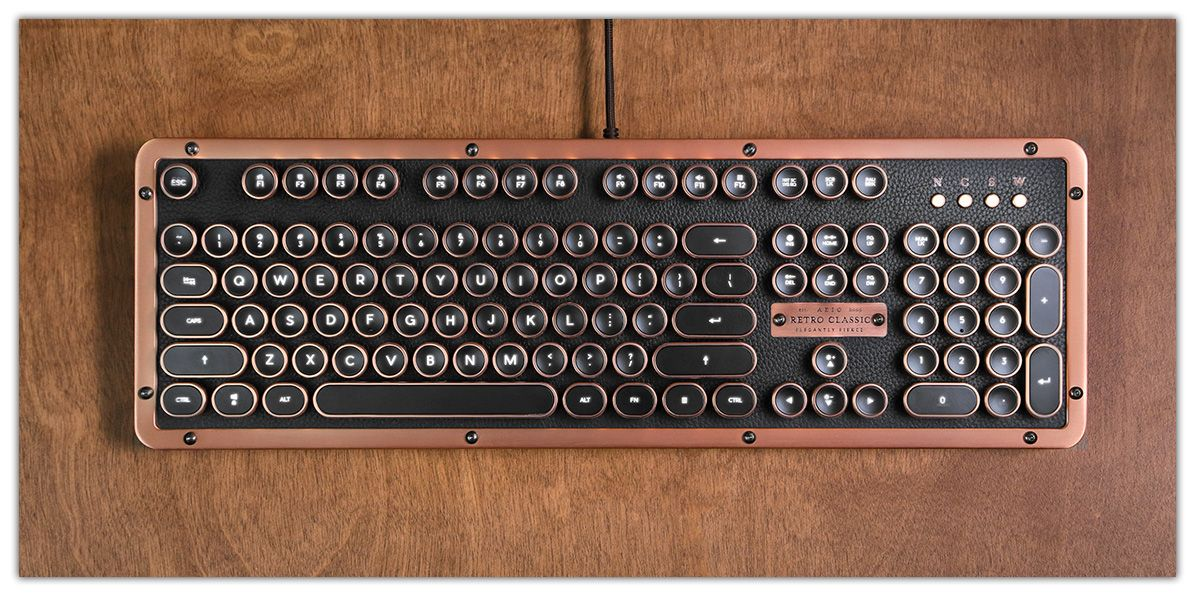 Retro Classic Usb Vintage Typewriter Inspired Backlit Mechanical Keyboard Writing Accessories Steampunk House Vintage Typewriters