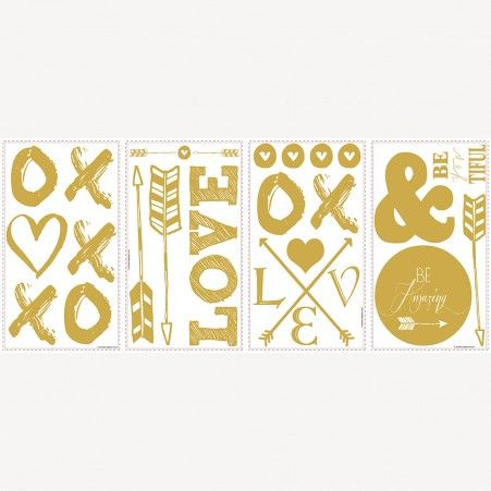 decorate-with-gold-love-with-hearts-and-arrows-wall-stickers