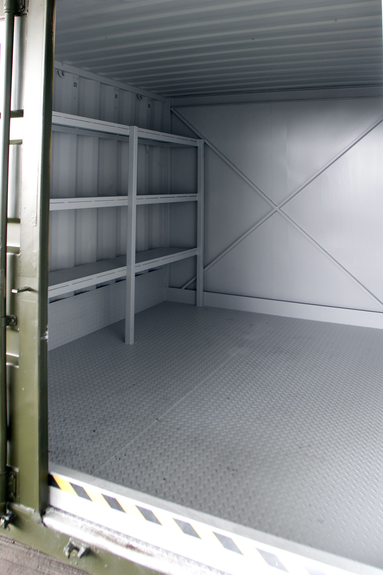 10ft steel #chemicalstore container fitted with steel 6in high bund & shelving. For more info: T: 0800 121 7388