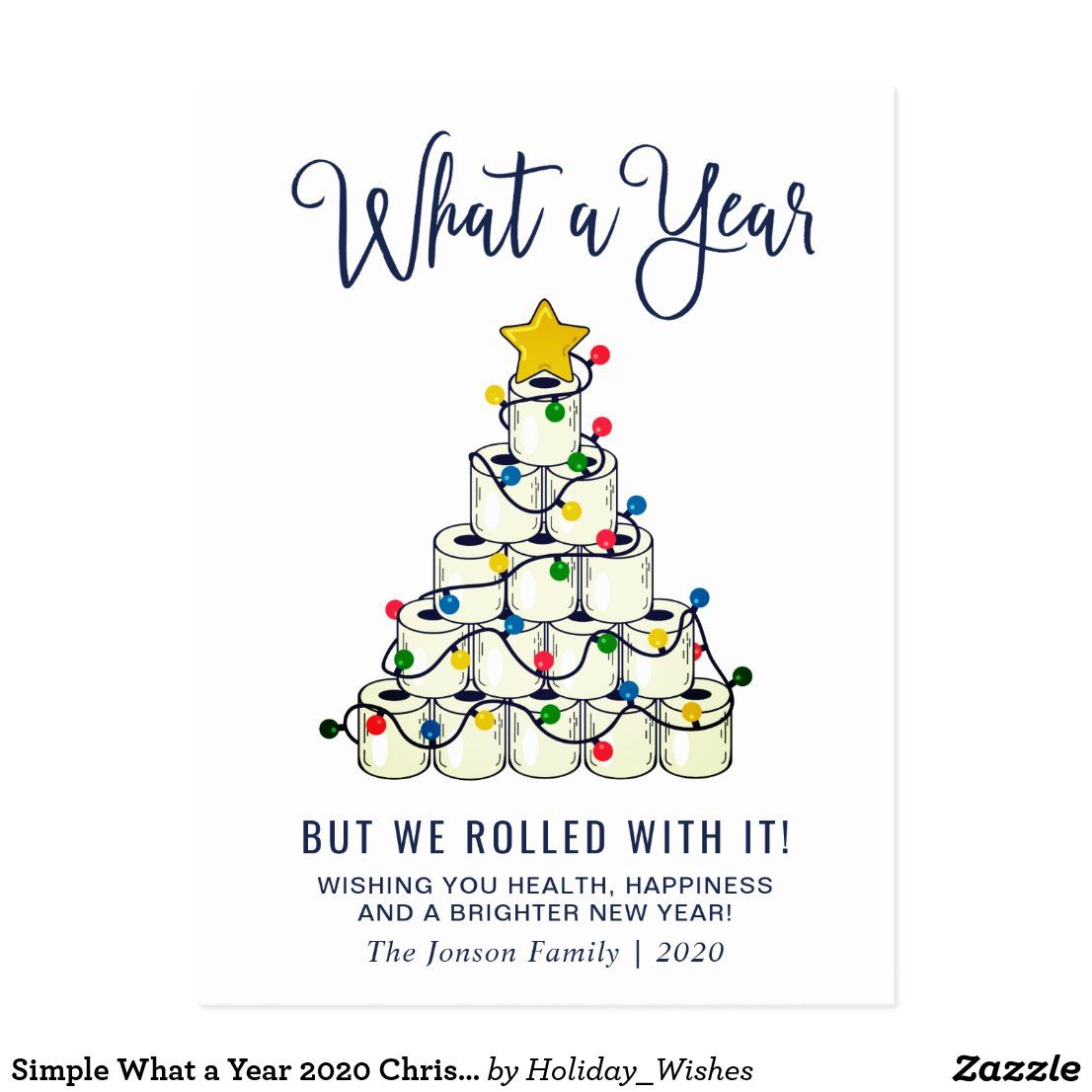 Simple What a Year 2020 Christmas Holiday Greeting Postcard | Zazzle.com