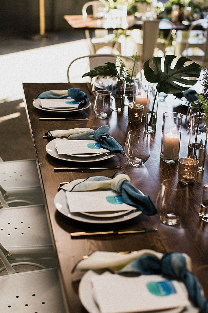Katie and Ryan's Fresh, Clean and Modern San Diego Wedding with Accents of The Caribbean by Nicole George and Studio Castillero #tabledecoration #tablesetup #weddingtable