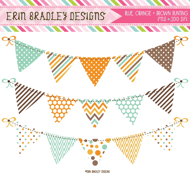Aqua Blue Orange & Brown Banner Flag Bunting Commercial Use Clipart Graphics Instant Download