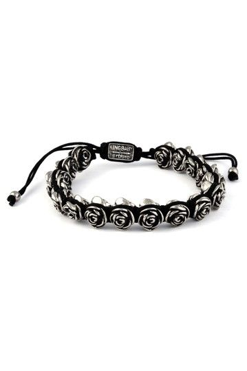 King Baby Studio Black Macrame & Rose Bracelet by Finishing Touches: Men's Accessories on @HauteLook