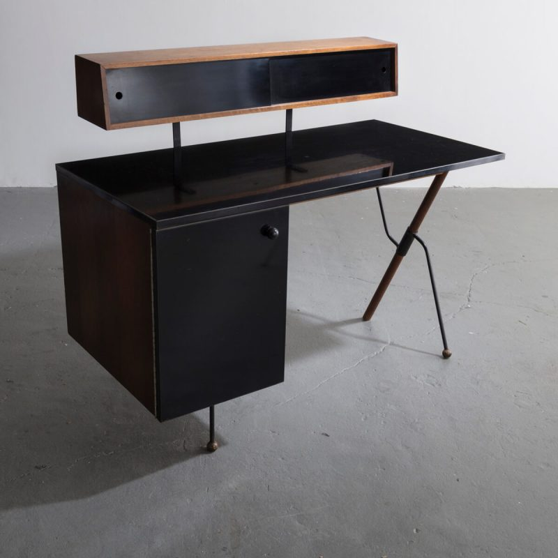 Desk In Walnut And Wrought Iron With Pencil Box And Black Laminate Surfaces By Greta Magnusson Grossman Dk168 R Iconic Furniture Design Desk Desk Furniture
