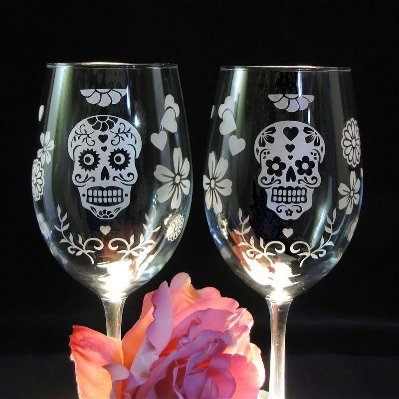 2 Day of the Dead Wedding Wine Glasses, Dia De Los Muertos, Sugar ...