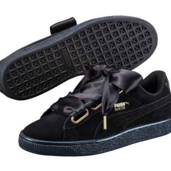Puma Shoes | Puma Heart Suede Black Iridescent Sneakers ...
