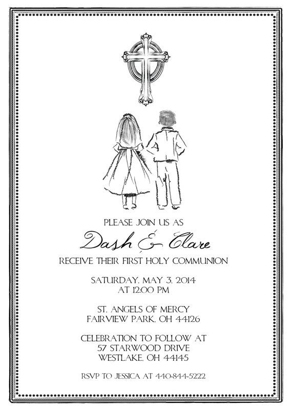 Printable Twin Triplet First Communion Invitation