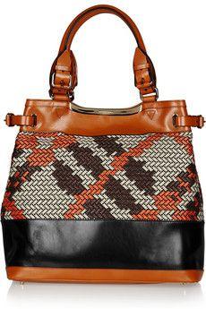 Loving this Burberry Prorsum leather & raffia tote :)