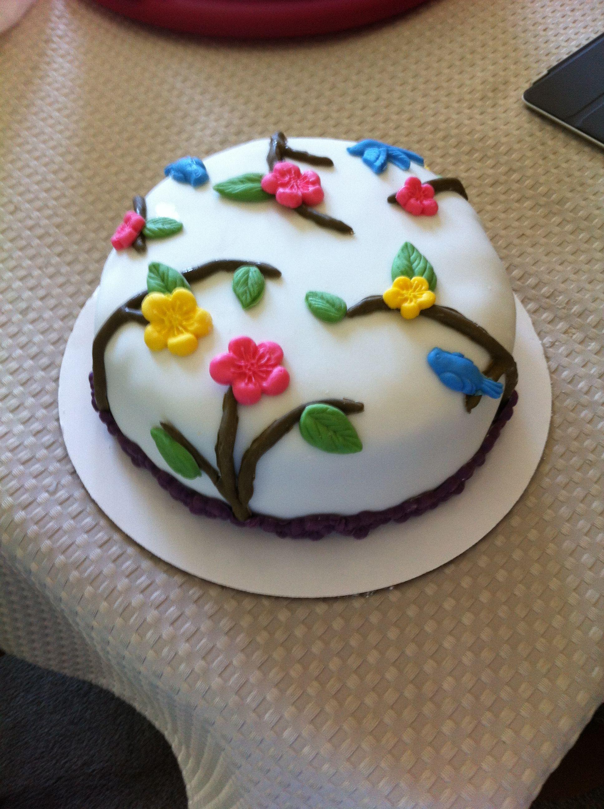 Nature (flowers & birds) cake