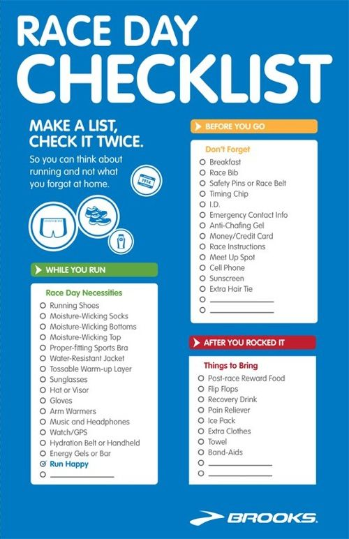 Race Day Checklist And Other Great Running Tips Like How To Get