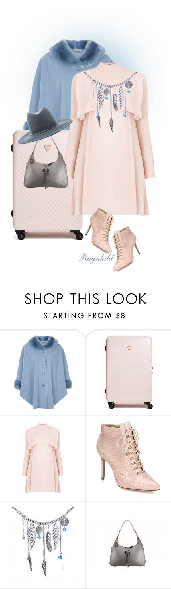 """""""Give me a Break"""" by ragnh-mjos ❤ liked on Polyvore featuring Jacques Vert, GUESS, Alexandre Birman, Janessa Leone, contest, outfit and pantone2016"""