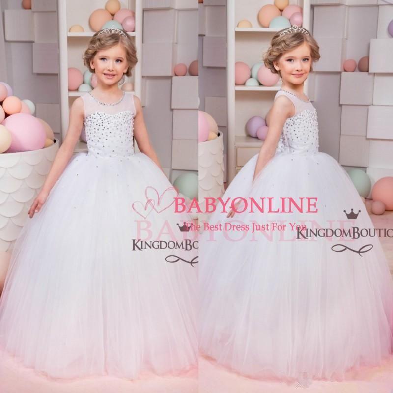 Click to Buy << 2017 Cheap Ball Gown Flower Girl Dresses Sleeveless ...