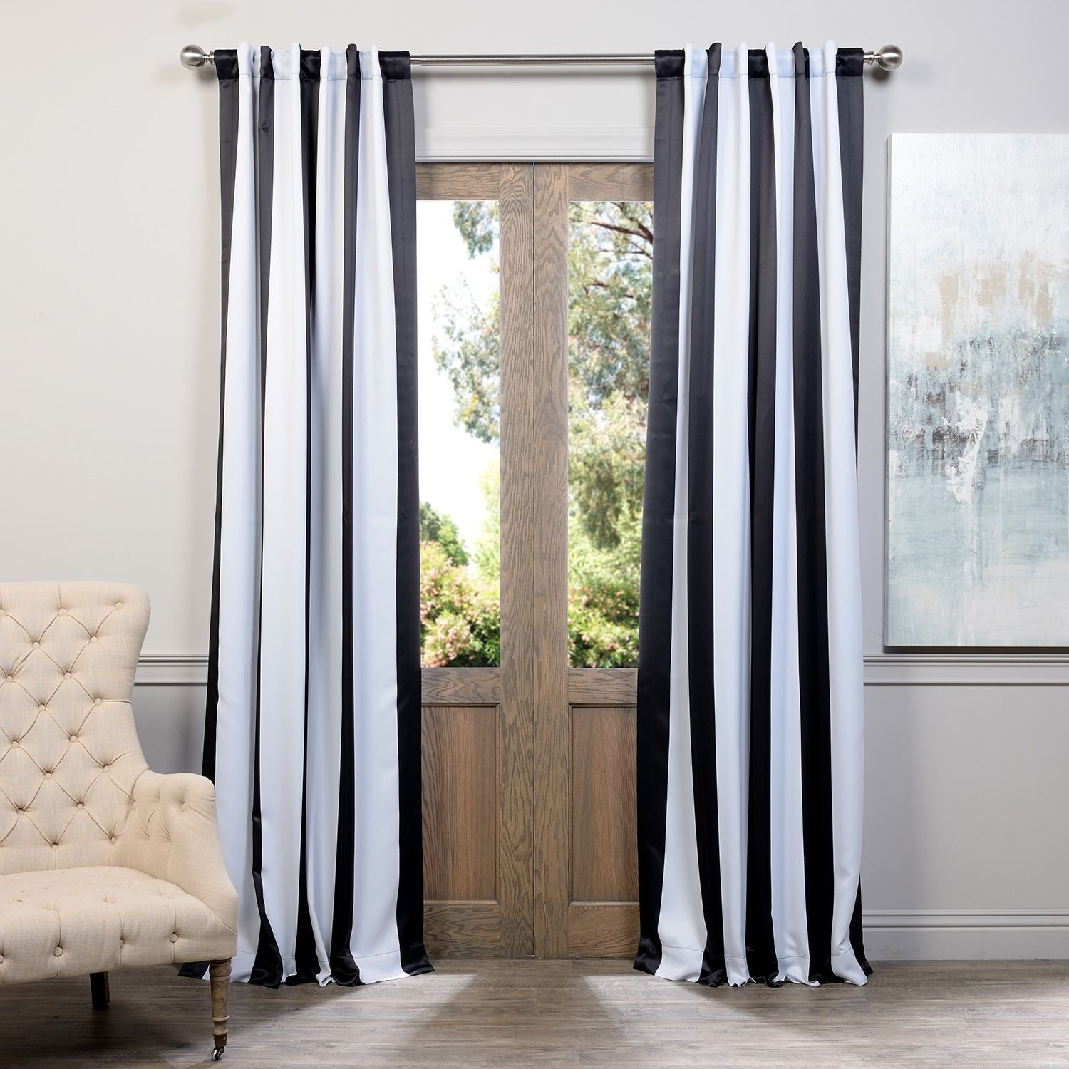 Exclusive Fabrics Black And White Vertical Striped Blackout