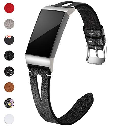 21173399a082 Maledan Bands Compatible for Fitbit Charge 3 and Charge 3 SE Slim Genuine  Leather Band Replacement