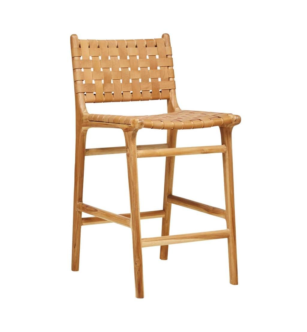 Leather Strapping Bar Stool With Back In Teak Tan Tan Bar