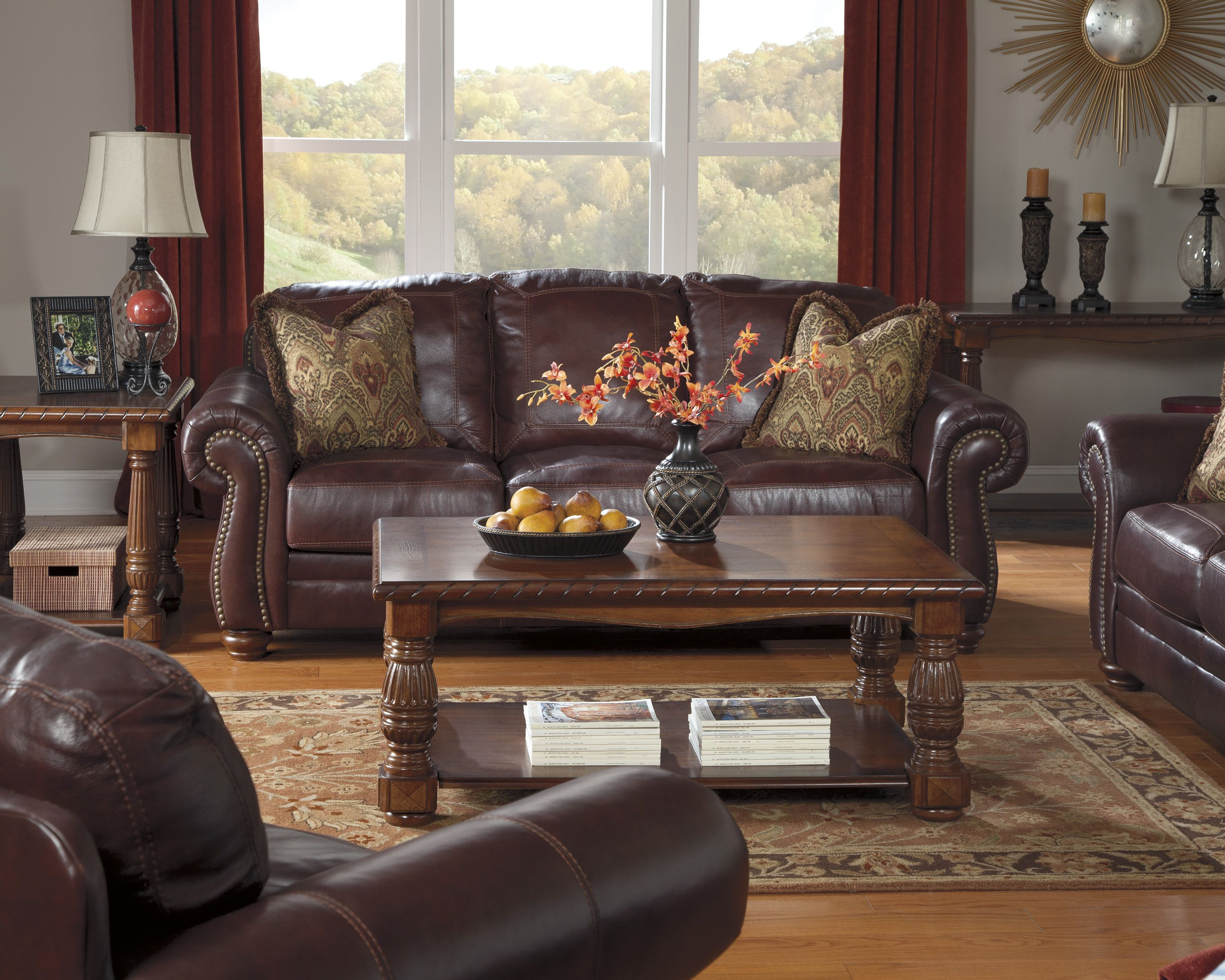 A Rich Dark Brown Leather Living Room Set Living Room Leather
