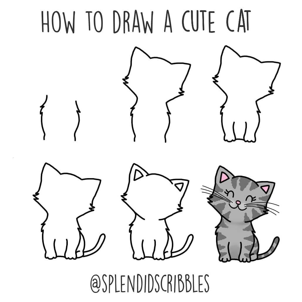 I Ll Be Sharing 25 Animal Sketch Ideas That Are Easy To Follow Learn How To Draw Animals Following The Cat Drawing Tutorial Simple Cat Drawing Animal Sketches
