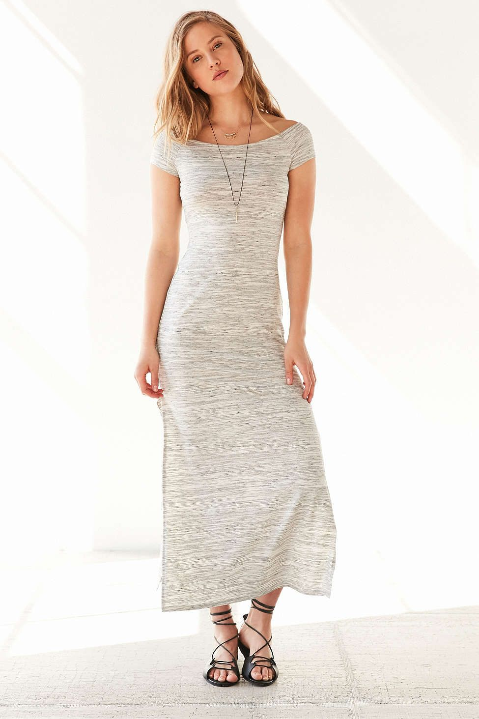 BDG Heathered Off-The-Shoulder Maxi Dress
