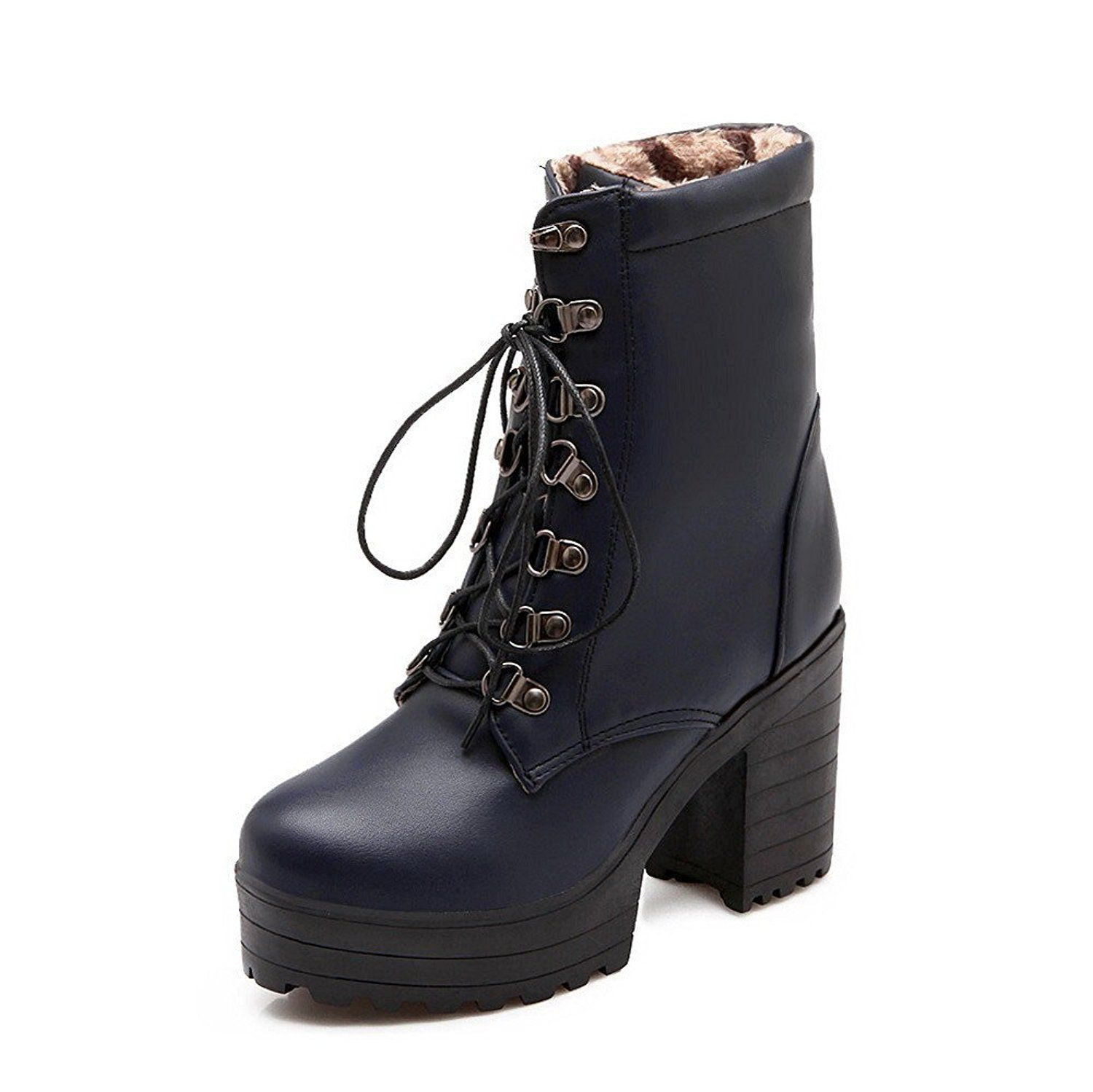 Women's Round Closed Toe High-Heels Soft Material Low-Top Solid Boots With Lace