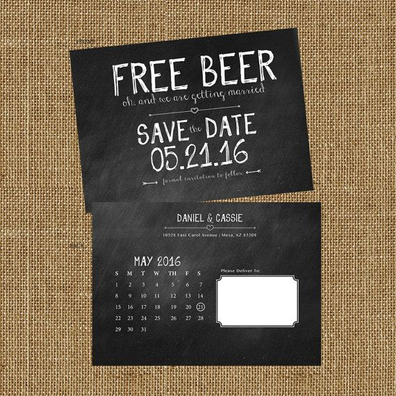 Save The Date Free Beer Digital Only Etsy Free Beer Save The Date Here Comes The Bride