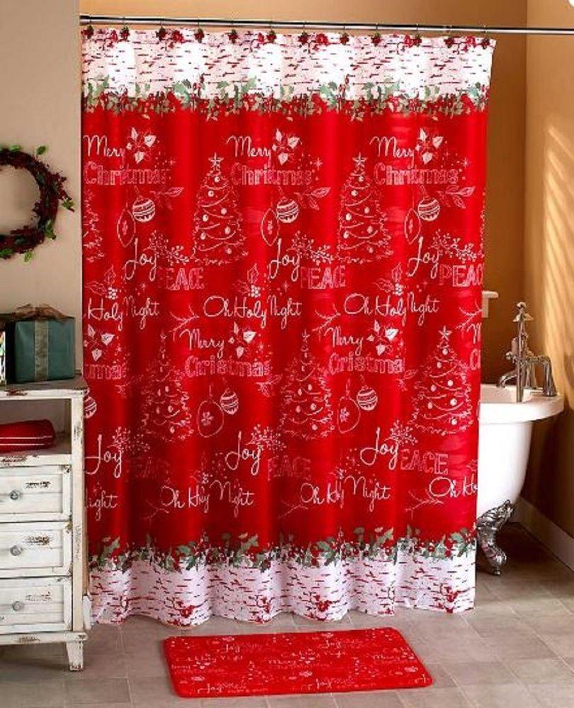 Christmas Shower Curtain Collection Holiday Bath Decor Seasonal