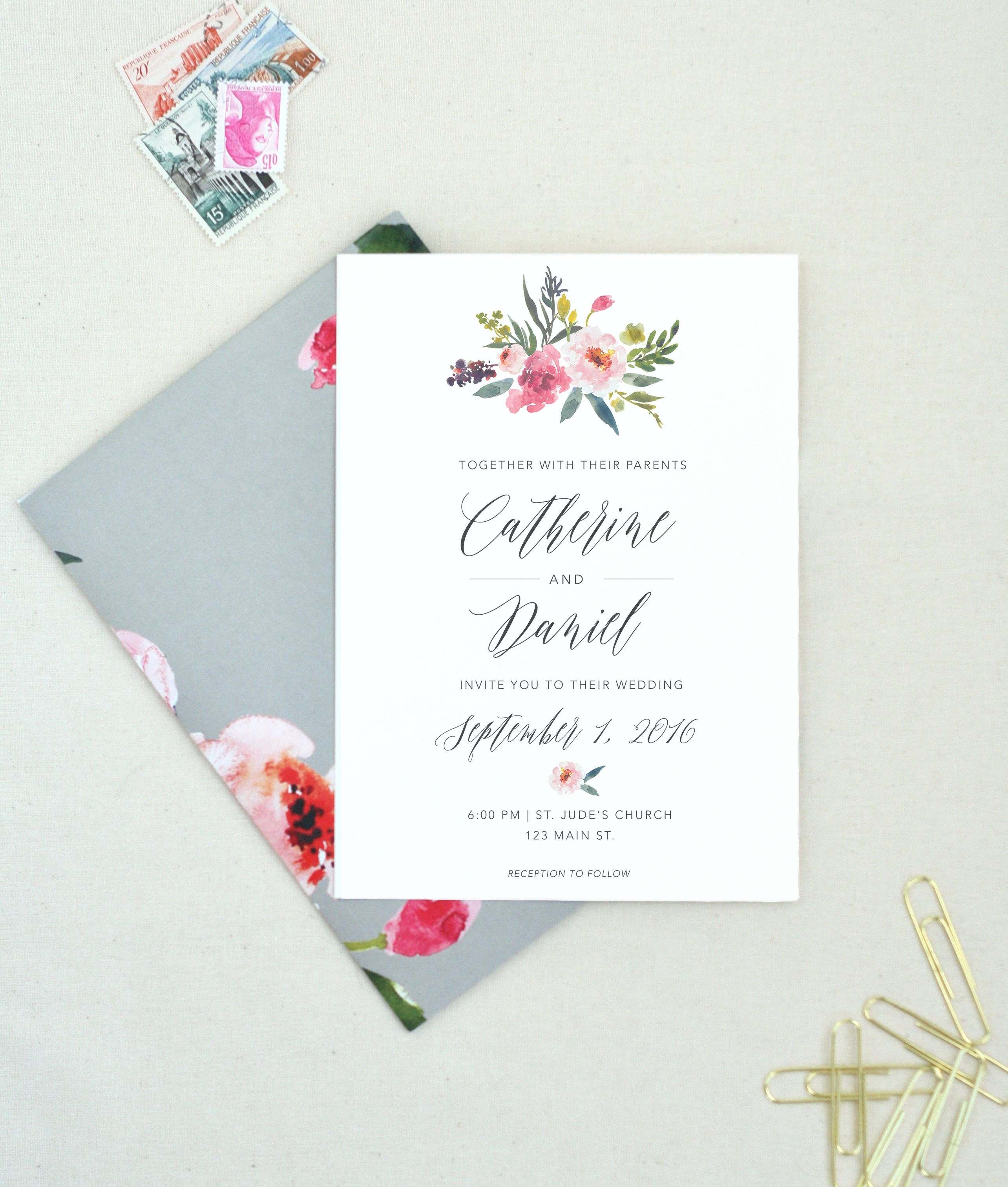 pink and gray weddings are just gorgeous these wedding invitations