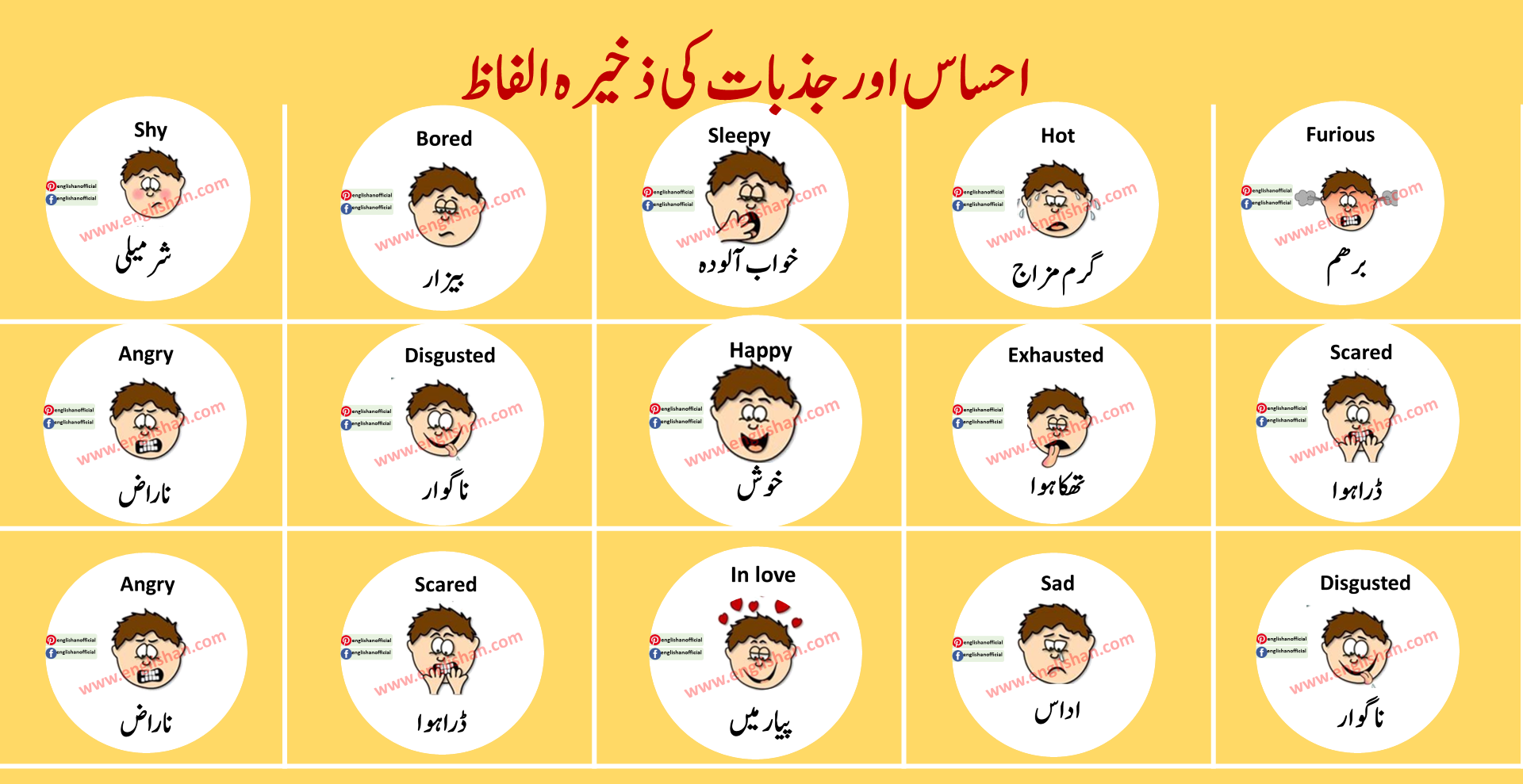 Feeling And Emotion Vocabulary List With Urdu In