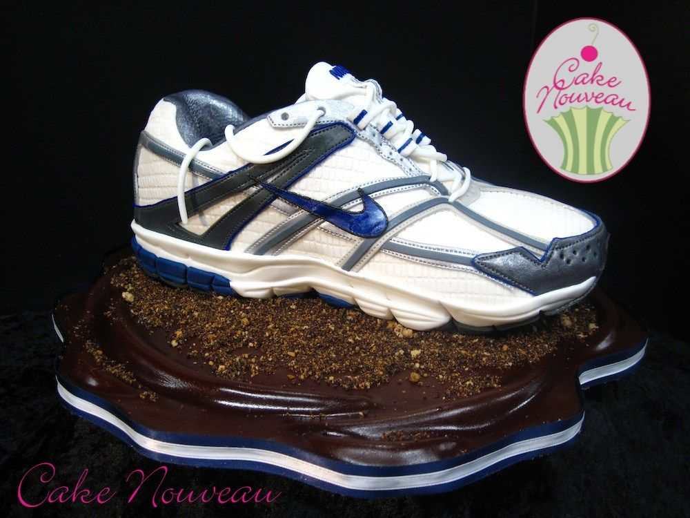 7abb00635c8b Cake   blue and white Nike running shoe ... stitching detail is amazing!! By  Cake Nouveau