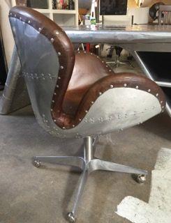 restoration hardware aviator devon spitfire leather office chair