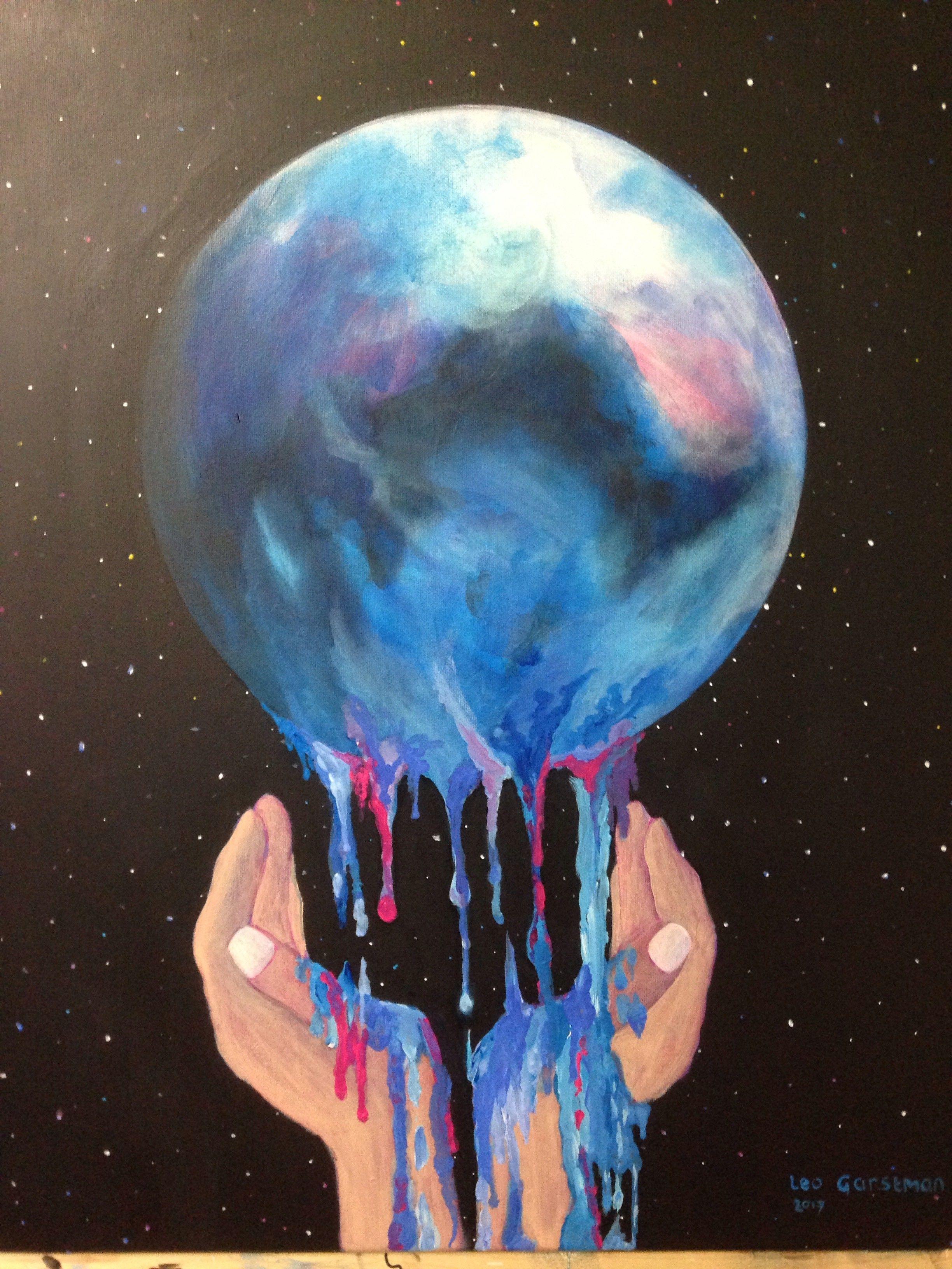 Sick Earth acryl op Linnen 50 x 70 Schilderij, Schilder