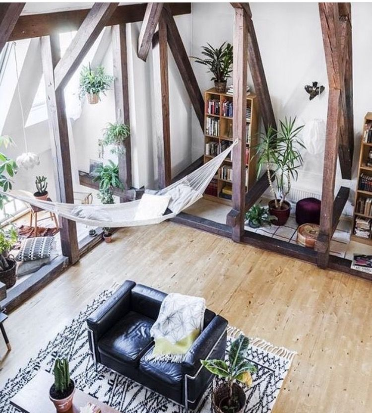 Boho Interior Decor Indoor Hammock Plants And High Ceilings With Wooden Beams Loft Apartment