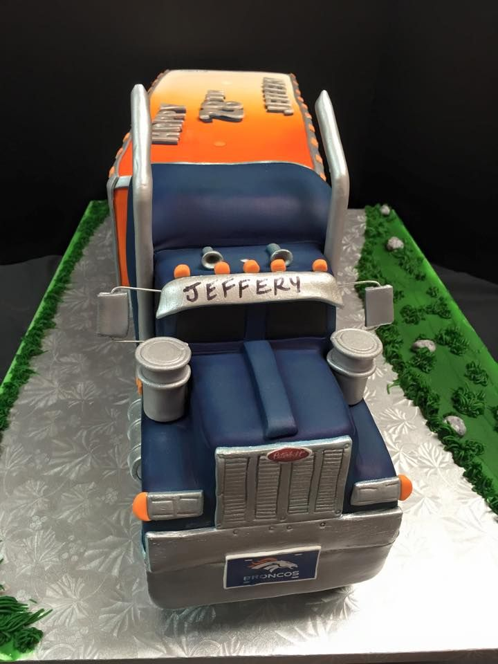 Wondrous Front View Of Semi Truck Cake Broncos Semi Truck Peterbilt Personalised Birthday Cards Sponlily Jamesorg