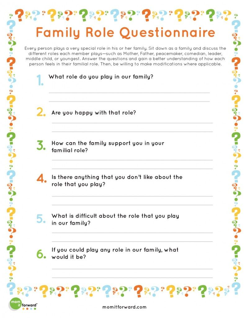 Printable Family Roles With Images Family Roles Family
