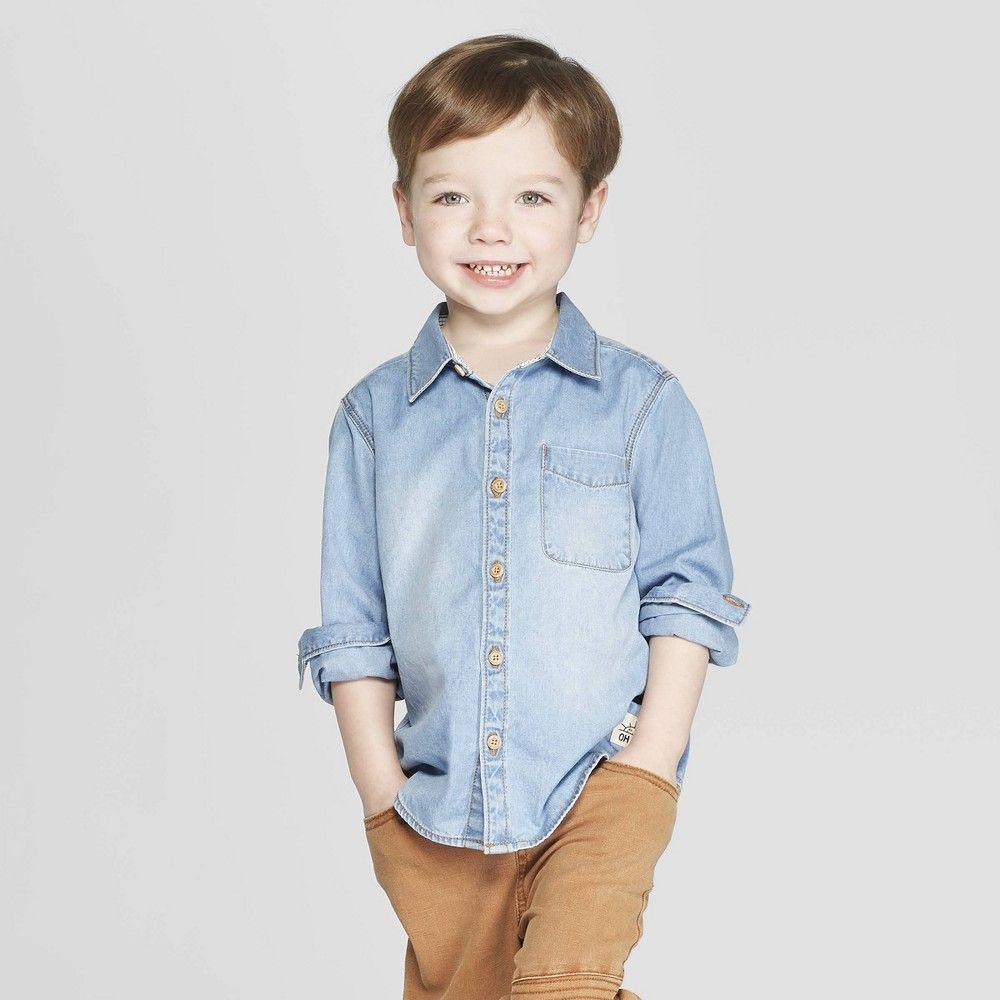 09643c36 Toddler Boys' Long Sleeve Chambray Button-Down Shirt - art class Blue 18M