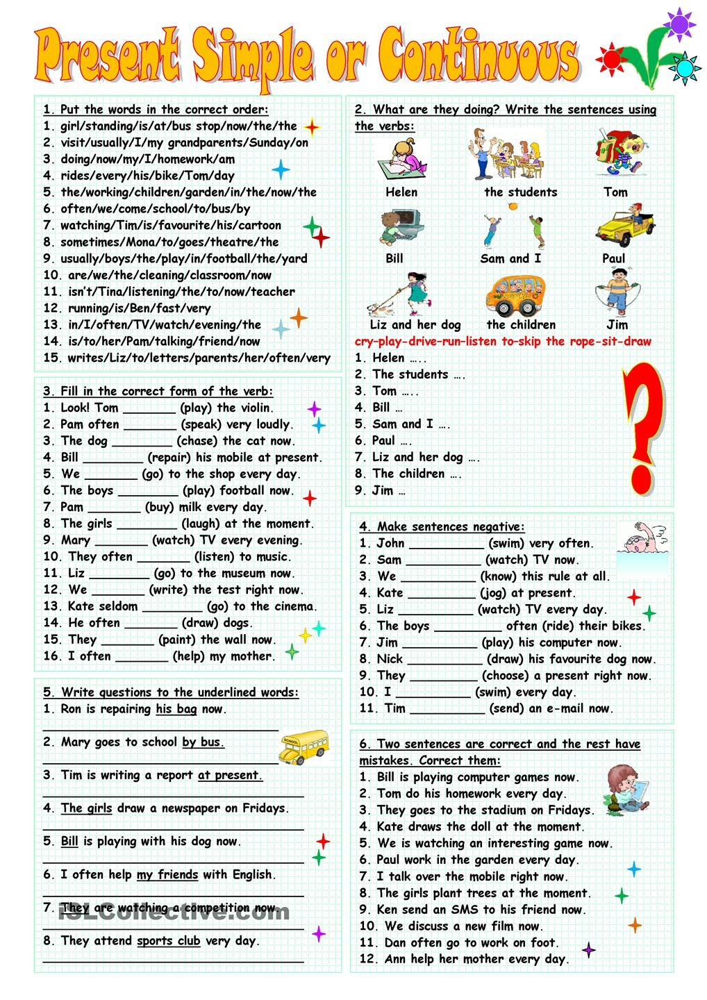 Present Simple Or Continuous English Grammar English Grammar Worksheets Grammar