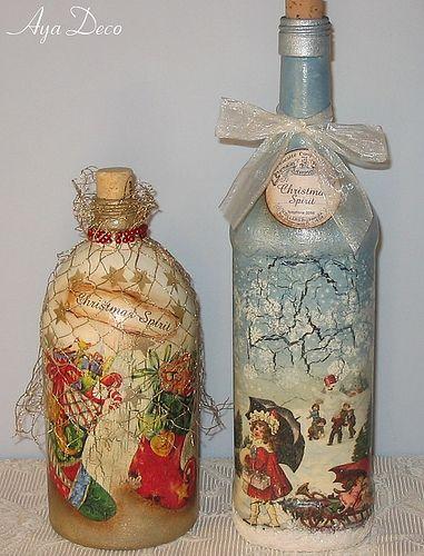 Glass Bottle Decorations Christmas Decoupage Bottles  Decoupage Bottle And Altered Bottles