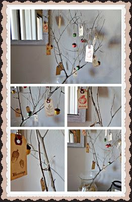 Here's our Thanksgiving tree. Decorated with tags and mini acorns from Etsy. 2015