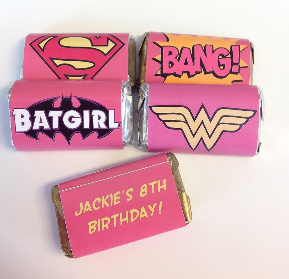 50 SUPER HERO GIRLS PERSONALIZED MINI CANDY BAR WRAPPERS PARTY ...