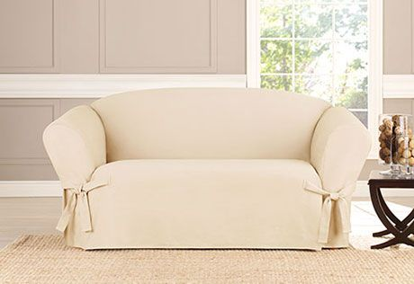 Sure Fit Slipcovers Heavyweight Cotton Duck One Piece Slipcovers Loveseat Furniture Slipcovers Loveseat Slipcovers Slipcovered Sofa