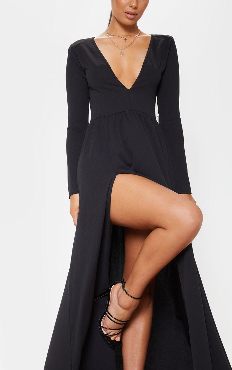 Black Long Sleeve Plunge Maxi Dress Long Sleeve Plunge Dress Plunge Maxi Dress Fancy Dresses Long