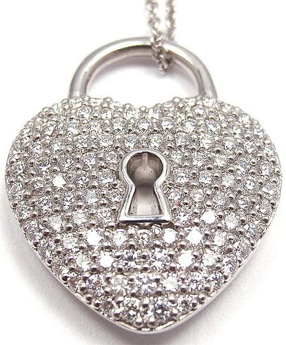 87c4e4ae2 Current Authentic Tiffany Co Platinum Diamond Heart Lock Pendant Necklace |  eBay - $6,200