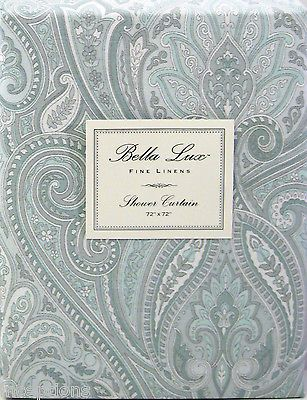 Bella Lux Fabric Twill Shower Curtain Paisley Soft Pale Aqua Grey White