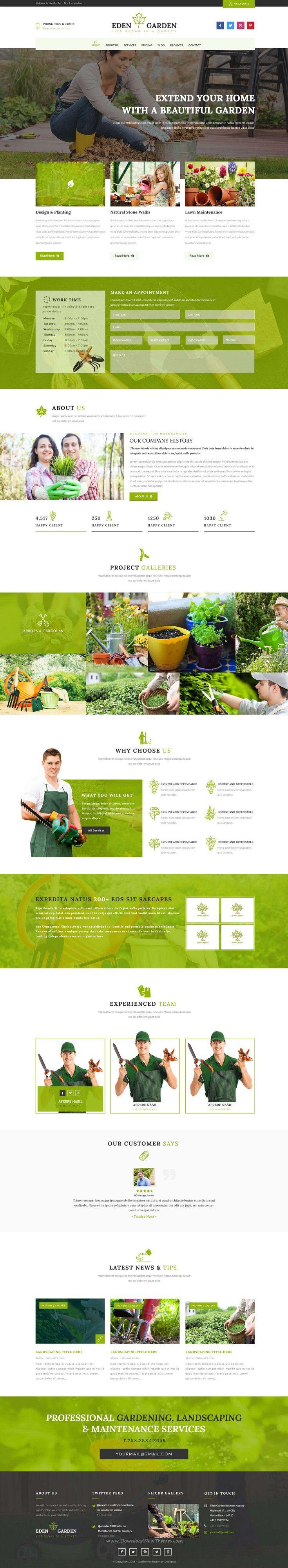 Eden Garden - Gardening and Landscaping PSD Template | Pinterest ...