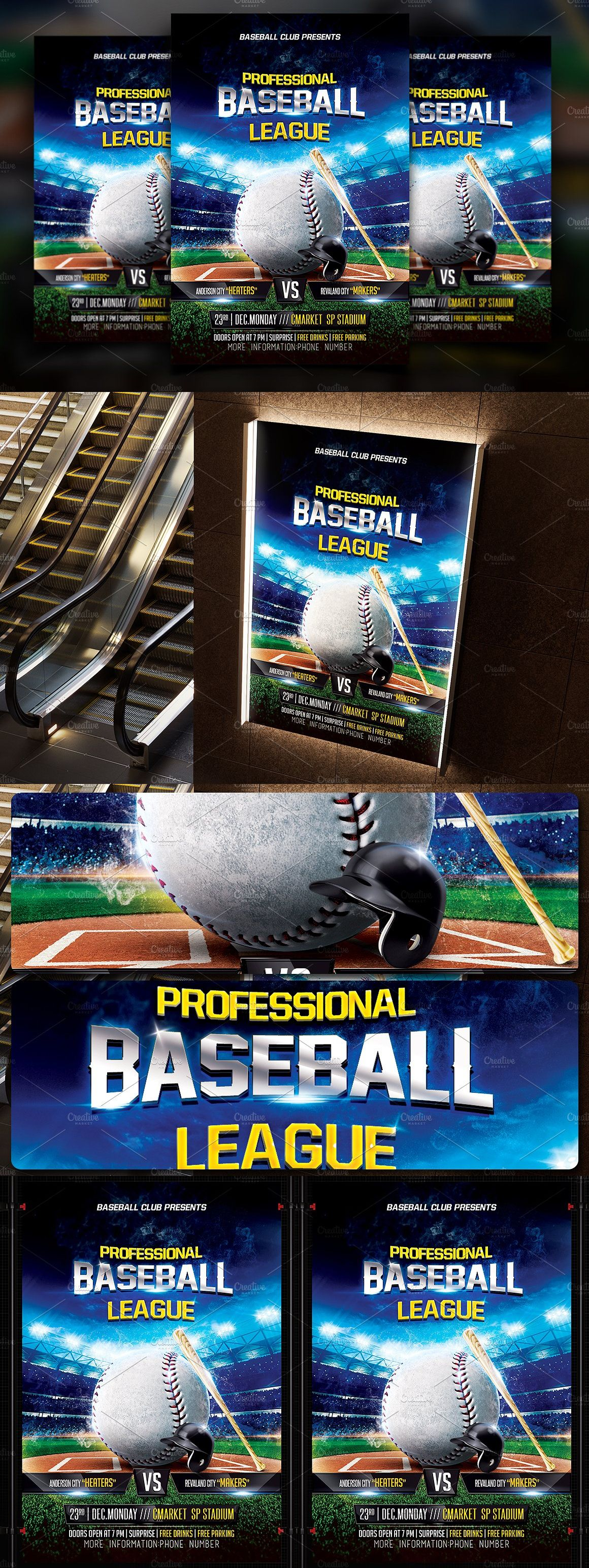 Baseball Flyer Template  Flyer Template Template And Fonts