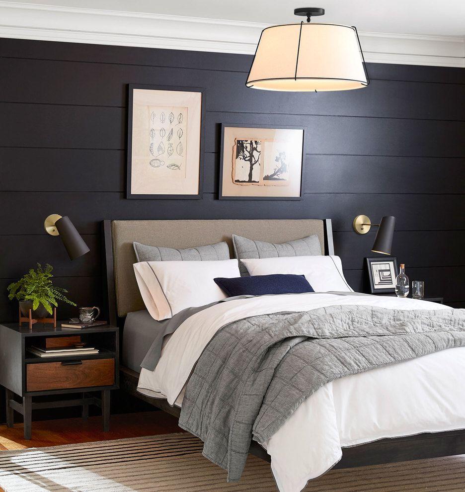 Black Light Bedroom: Conical Drum Semi-Flush Fixture. Drum Pendant. Semi-flush