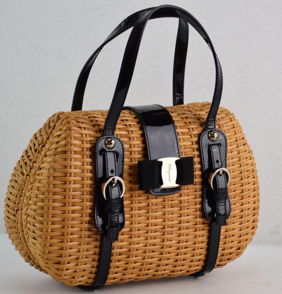 b424d1392e Salvatore Ferragamo Vera Black Patent Wicker Rattan Straw Bamboo Bag   SalvatoreFerragamo  Satchel