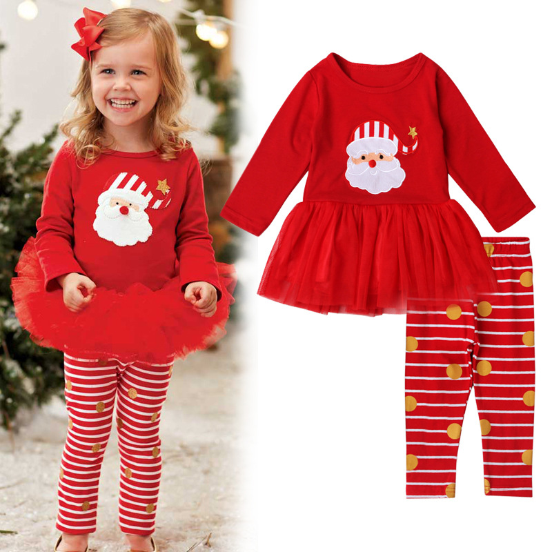 2PCS Kids Christmas Pajamas Sleepwear Set Long Sleeve T-Shirt Tops+Striped Pants Outfit Children Clothes