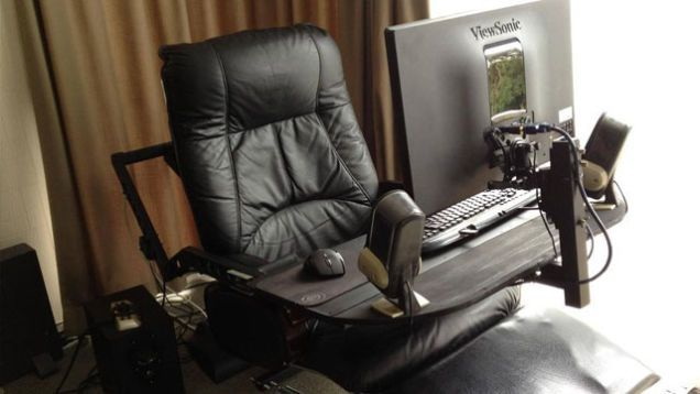 A Computer in a Leather Recliner A Compact and Comfortable