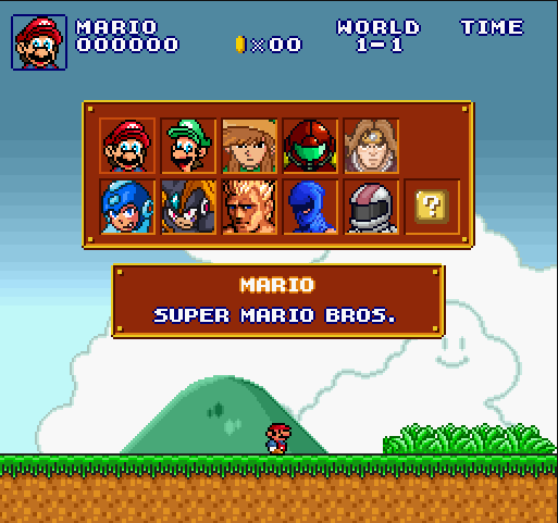 Super Mario Bros Crossover choix des personnages sur exploding rabbit  http://www.123geekos.fr/super-mario-crossover/