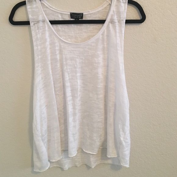 White Tank White tank from Topshop. Only worn once. Armholes are cut super deep, so this shirt is perfect for the beach or a concert! Topshop Tops